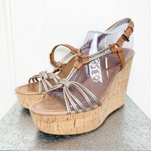 Coach cork wedge metallic gold strappy sandal